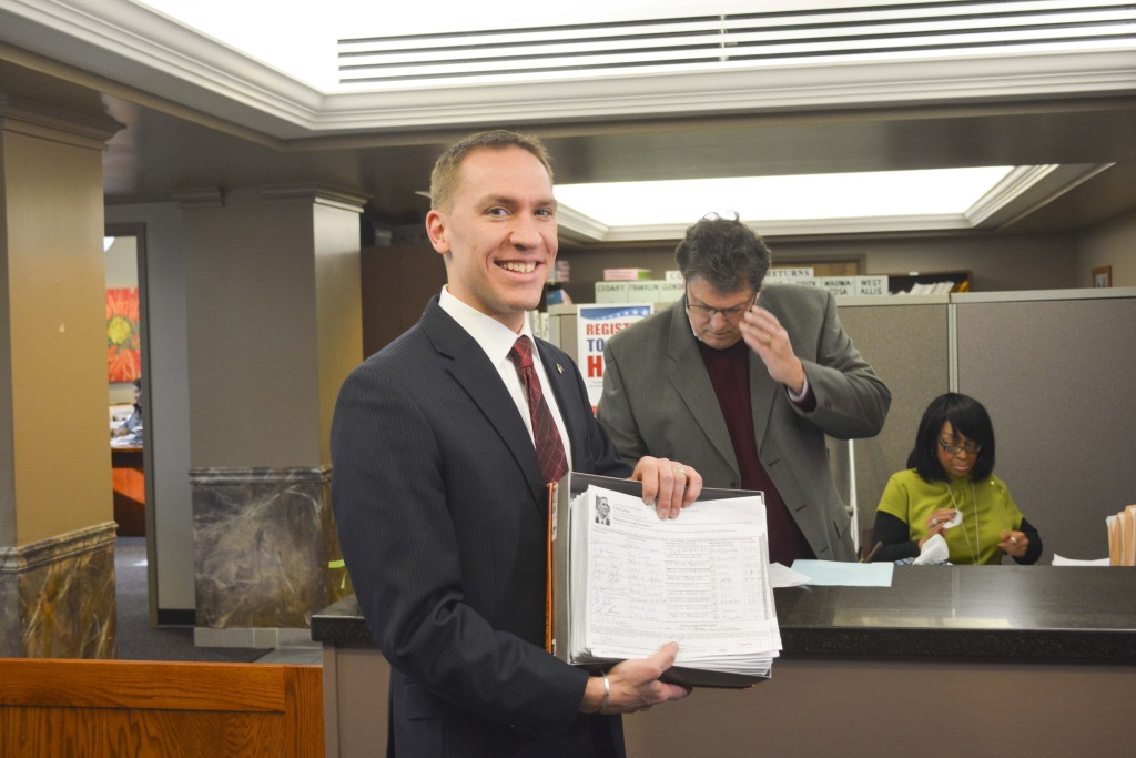 Chris Larson Submits Signatures for Milwaukee County Executive Race. Photo courtesy of Larson for Milwaukee County Executive.