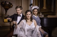 Benjamin Robinson as the Waiter, Cassandra Black as the Duchess and Kaleigh Rae Gamaché as the Maid. Photo by Mark Frohna.