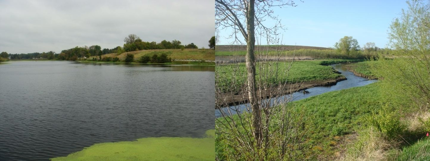 Before and after photos of the Milwaukee River upstream from the Campbellsport Millpond Dam show the dramatic narrowing of the river channel after removal of the dam in 2011.