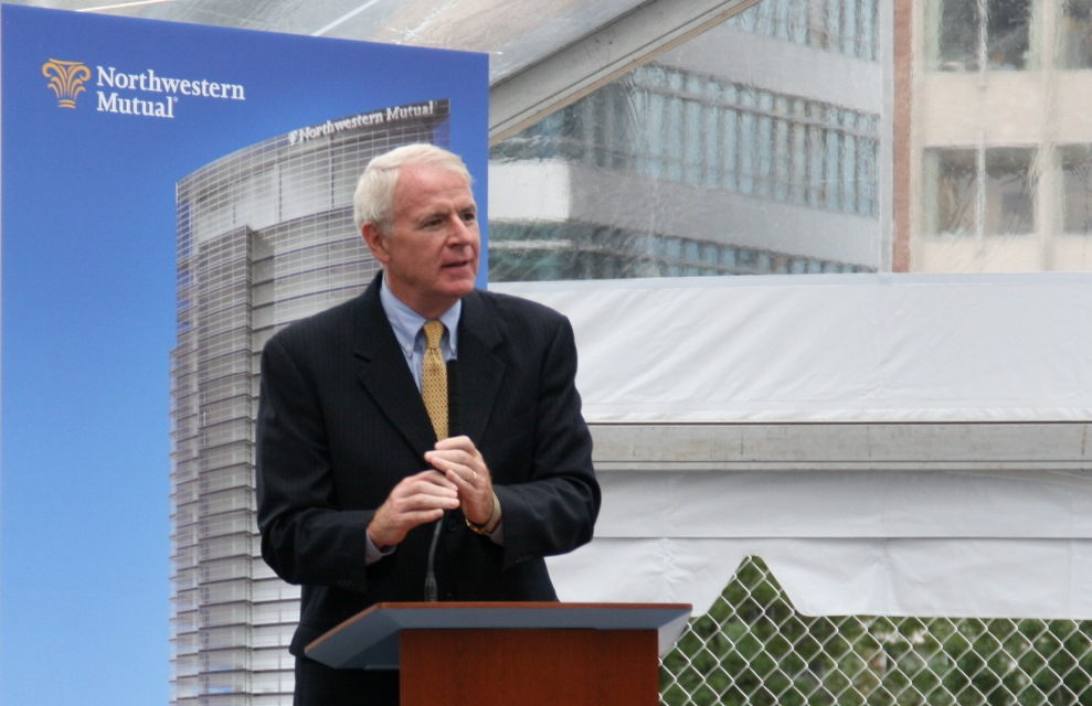 Mayor Tom Barrett speaking at the groundbreaking for the Northwestern Mutual Tower and Commons. Photo by Jeramey Jannene.