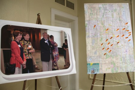 A map of Milwaukee highlights the location of nonprofits Dick Larsen has served. Photo by Sophia Boyd.