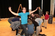 """Cast members rehearse for """"The Snow,"""" the fifth installment of First Stage's Wisconsin Cycle. Photo by Lucia Lozano, First Stage."""