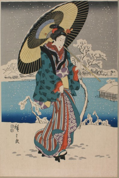 Bijinga. Utagawa Hiroshige Japanese, 1797 – 1858. Snow Scene at Ueno park (on the banks of the Shinobazu Lake (Edo)), 1847 -1848. Collection of the Haggerty Museum of Art, Marquette University