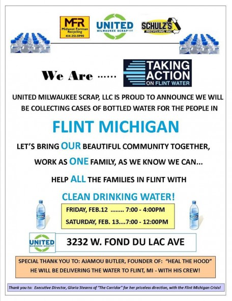 Water Collection for Flint MI at United Milwaukee Scrap with Heal the Hood