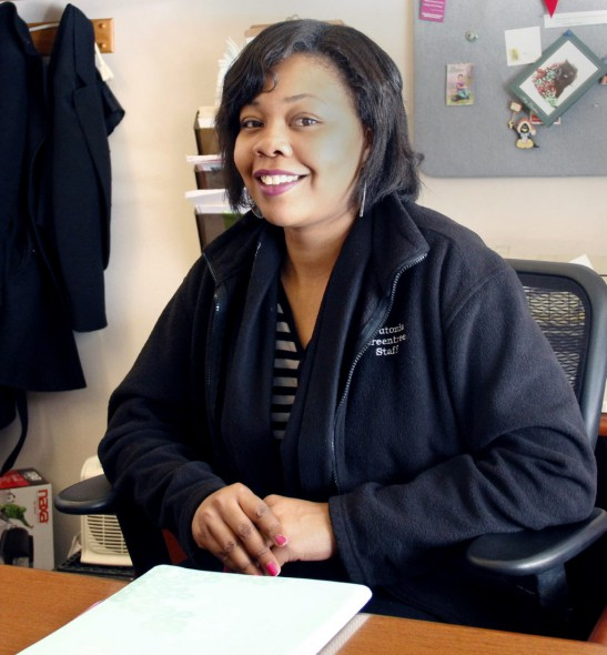Kanesha Wingo, 28, is the leasing agent at Greentree-Teutonia. With the help of the apartment complexes' on-site learning center, Wingo was able to complete her undergraduate and master's degrees and establish a foundation for herself and 7-year-old daughter. Photo by Abigail Becker of the Wisconsin Center for Investigative Journalism.