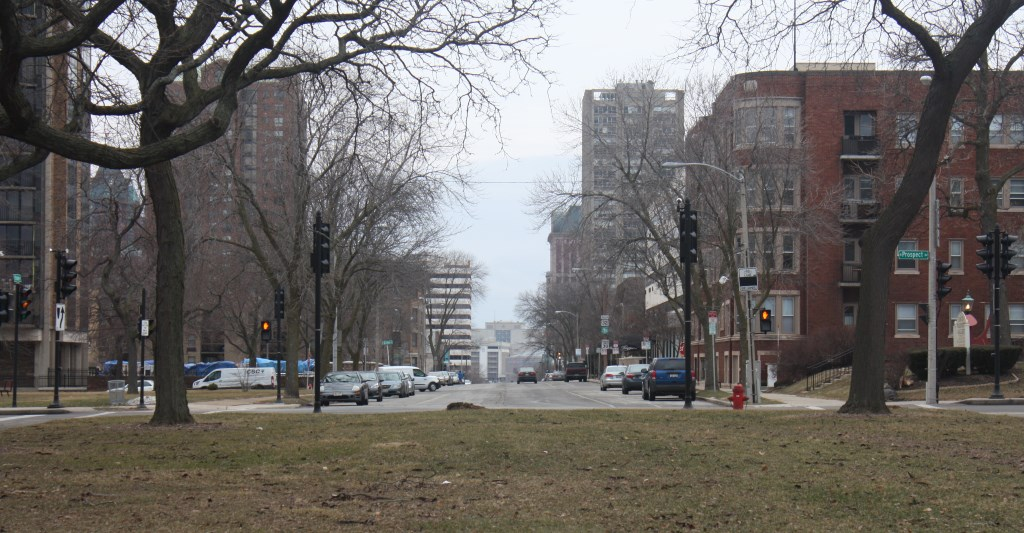 Leif Erikson's view down State Street. Photo by Carl Baehr.
