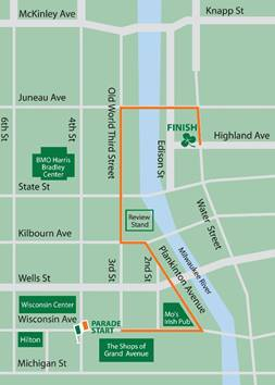 The 2016 parade steps off at noon on Wisconsin Avenue and Old World Third Street and will wind its way through the streets of Downtown Milwaukee until it finishes on Water St and Highland Ave.