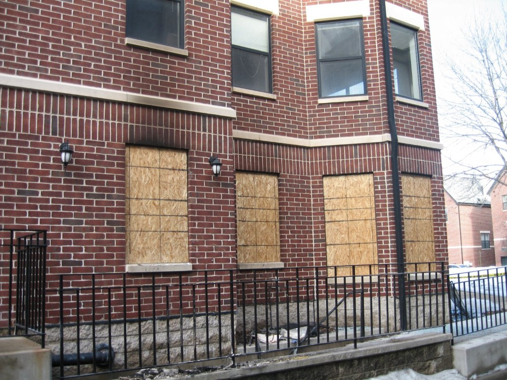 East Pointe Commons Apartments, after the fire. Photo by Michael Horne.