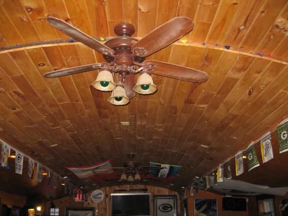 Wood paneled ceiling. Photo by Michael Horne.