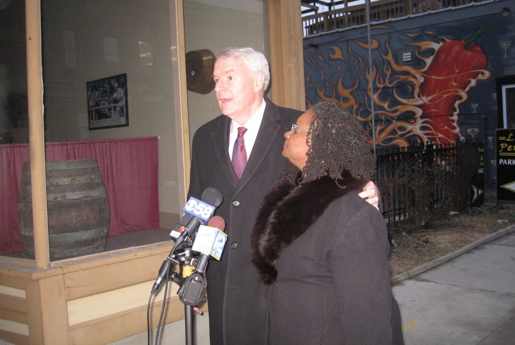 Rep. Gwen Moore gave her mayoral endorsement to the candidacy of Tom Barrett. Photo by Michael Horne.