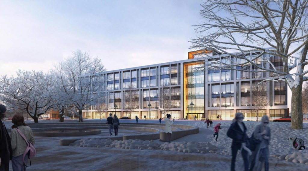 Proposed Class A Third Ward office building. Rendering by Kahler Slater.