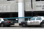 Milwaukee Police Department squad cars parked in front of the department's administration building. Photo by Brendan O'Brien.