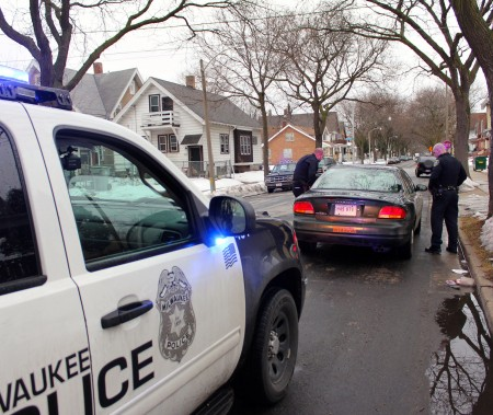 Milwaukee police stop a vehicle. Photo by Mark Doremus.
