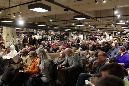People pack Boswell Books to hear Desmond speak. Photo by Allison Dikanovic.