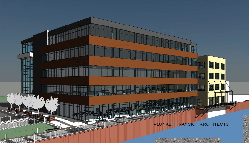 Wangard's proposed office building. Rendering by Plunkett Raysich Architects.