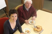 Jon and Tamarine celebrate Pi Day. Mmmmm…strawberry rhubarb! Photo courtesy of the Wisconsin Budget Project.