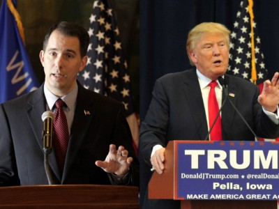 Politically calculating Walker flip-flops on campaigning with Trump