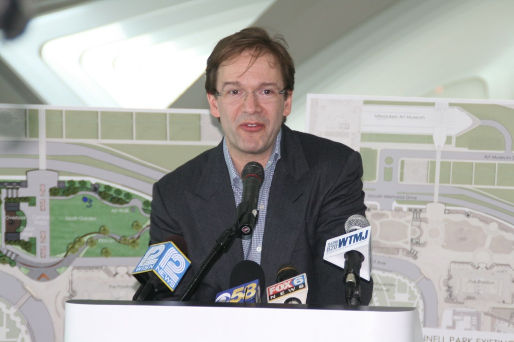 Milwaukee County Executive Chris Abele speaking at the press conference unveiling the plan for the museum to acquire O'Donnell Park. Photo by Jeramey Jannene.