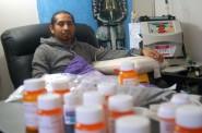 Jonathon Morales, 30, prepares for his dialysis treatment. Photo by Edgar Mendez.
