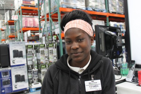 Ashara Rogers takes the bus from Sherman Boulevard and Roosevelt Drive to work at Costco in Menomonee Falls. Photo by Matthew Wisla.