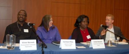 Panelists (from left) Victor Barnett, Carmen Pitre, Linda Bowen and Patrick Sharkey wait to be introduced. Photo by Andrea Waxman.