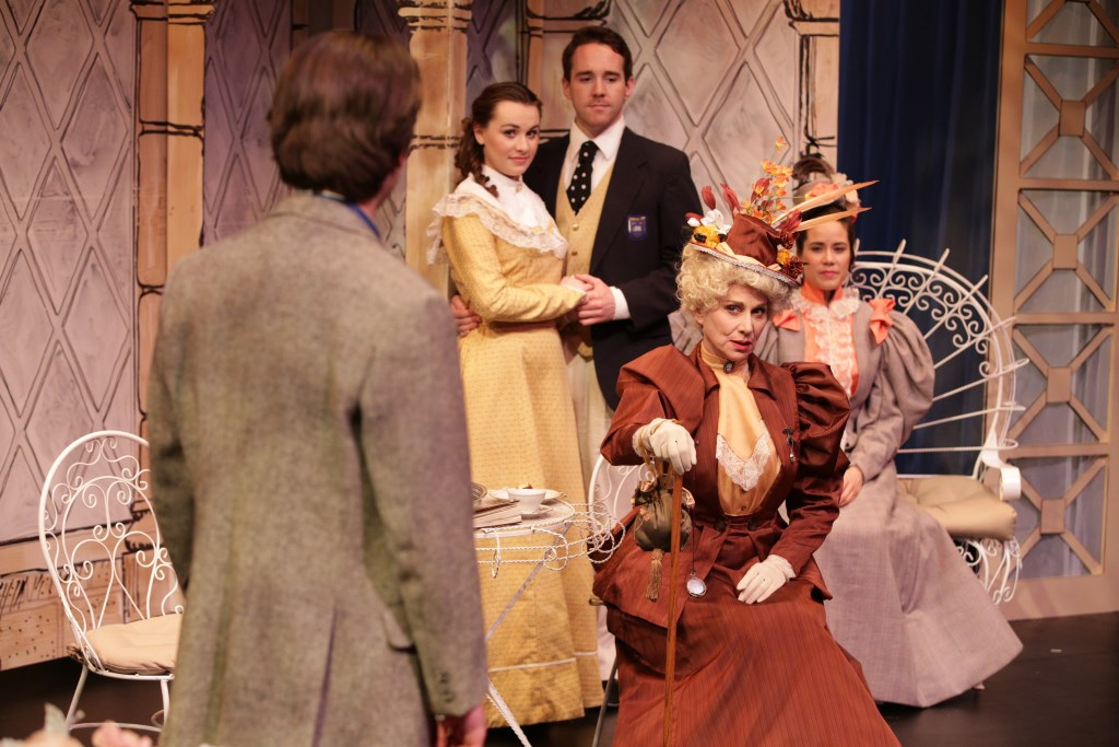 Zachary Thomas Woods (Jack), Peyton Oseth (Cecily), Doug Clemons (Algernon), Kristin Hammargren (Gwendolen), Angela Iannone (center-Lady Bracknell). Photo by Ryan Blomquist Photography.