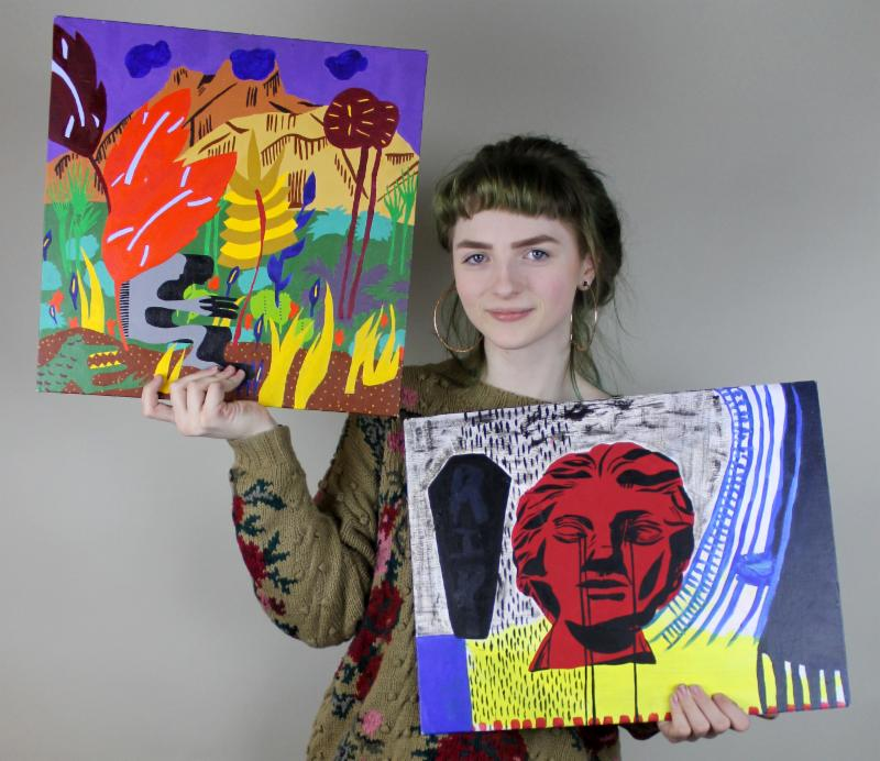 MHSA student Lilian Solheim, who won both a gold and silver medal in painting. Photo courtesy of MPS.