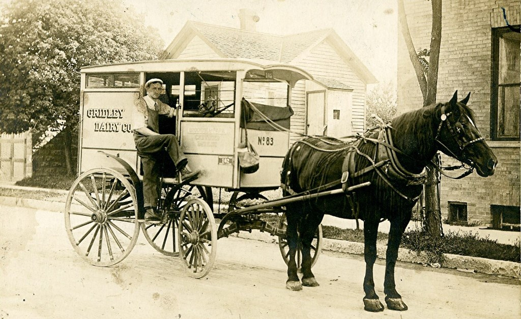 Horse-Drawn Milk Delivery Truck, 1908. Image courtesy of Jeff Beutner.