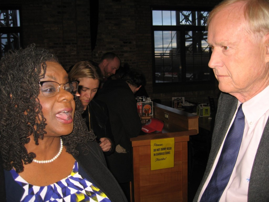 Gwen Moore and Chris Matthews. Photo by Michael Horne.