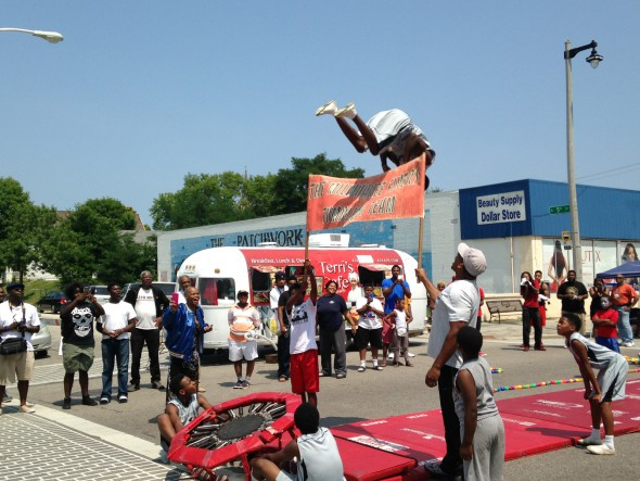 Milwaukee Flyers Tumbling Team during Bronzeville Week 2014. Photo by Dave Reid.