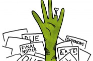"Debt that is no longer legally collectible but creditors continue to pursue has been referred to as ""zombie debt."" In Wisconsin, some consumer debt is extinguished after six years. Illustration by Jacob Berchem of the Wisconsin Center for Investigative Journalism."