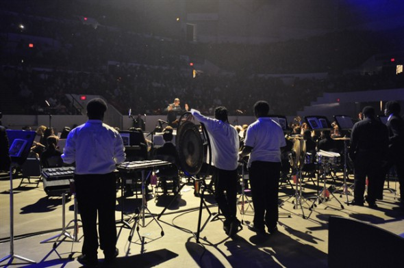 Benjamin Zabor directs the Honors Band at the 45th Biennial Music Festival in 2014. Photo courtesy of MPS