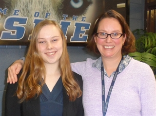 Reagan teacher Margaret Holtgreive with student Julia Brunson. Photo courtesy of MPS.