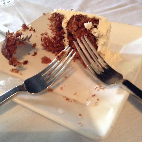 Remains of the carrot cake. Photo by Cari Taylor-Carlson.