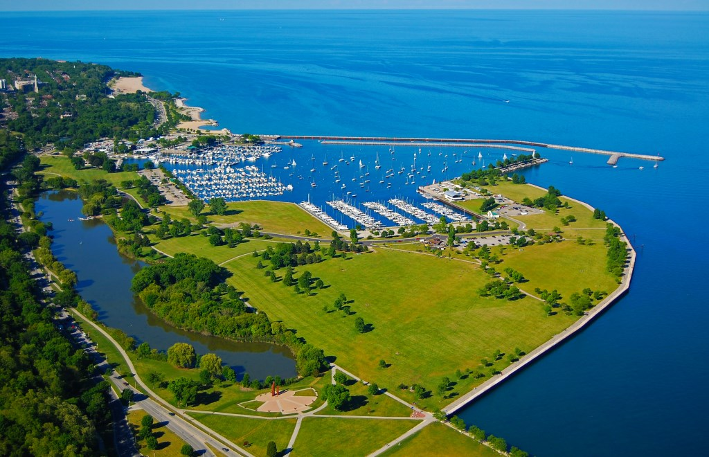 A view of Milwaukee's Bradford Beach, McKinley Marina, and Veteran's Park. June of 2012. Photo courtesy of MMSD.