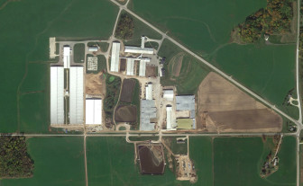 A view of Pagel's Ponderosa Dairy in Kewaunee County. Owner John Pagel is a member of the Kewaunee County Board and head of the county's Land and Conservation Committee. Pagel has acknowledged that large dairy operations such as his can contribute to groundwater pollution but said industry can lead the way toward a solution. Image from Google Earth.