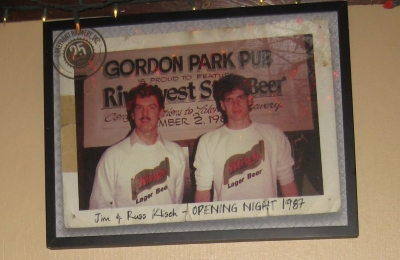 Jim and Russ Klisch at Opening Night of Lakefront Brewery, 1987. Photo by Michael Horne.