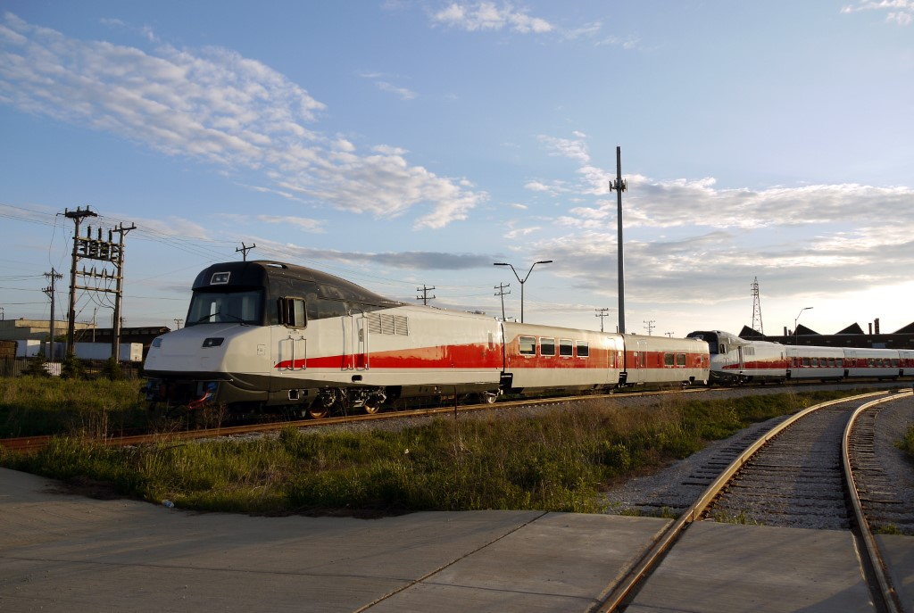 The Talgo Tranisets just prior to leaving Milwaukee, forever. Photo by Garrick Jannene .