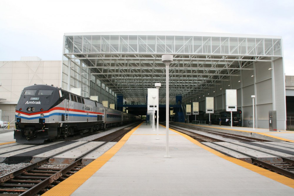 Amtrak Hiawatha at the Milwaukee Intermodal Station. Photo by Jeramey Jannene.