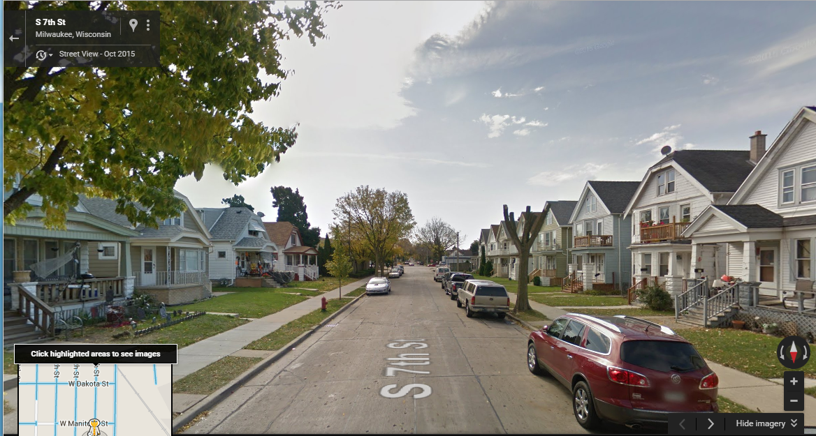 A Google Maps view of 7th street from 2015. The city recently planted two new trees, after the author contacted Alderman Tony Zielinski and the city's forestry department.