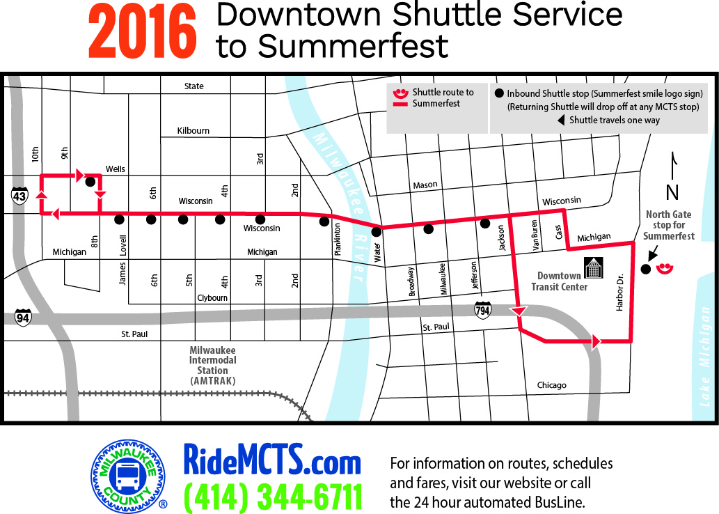 2016 Downtown Shuttle Service to Summerfest