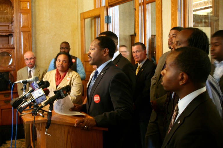 Common Council President Ashanti Hamilton and 11 of the city's aldermen unveiled a multi-pronged anti-violence initiative. Photo by Jabril Faraj.