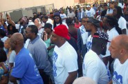 "Between 150-200 men gathered for the kickoff of the ""500 Fathers United Initiative"" at Moody Park. Photo by Edgar Mendez."