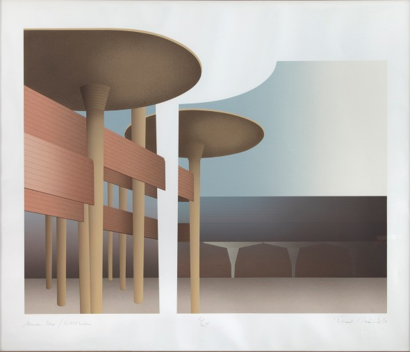 Richard Davies: Johnson Wax/Wisconsin, ca. 1980 Color Serigraph; edition 15/125 Racine Art Museum, Gift of Karen Johnson Boyd Photography: Jon Bolton, Racine, WI