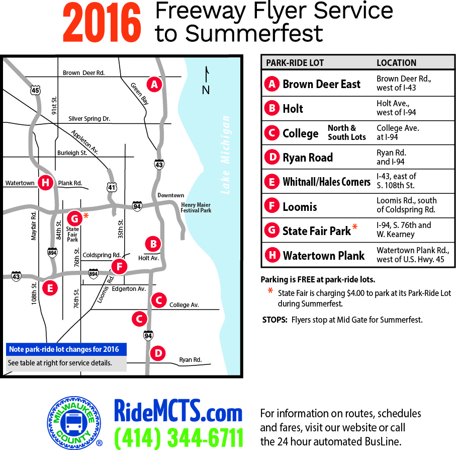 2016 Freeway Flyer Service to Summerfest