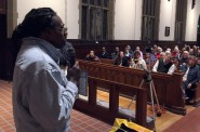 "Talib Akbar, who spent several years in solitary confinement in Wisconsin prisons, speaks during a Feb. 4 listening session in Madison sponsored by Wisdom, a statewide faith-based prison advocate group. ""Believe me it was torture. When you are released, you are dysfunctional."" Photo by Dee J. Hall of the Wisconsin Center for Investigative Journalism."