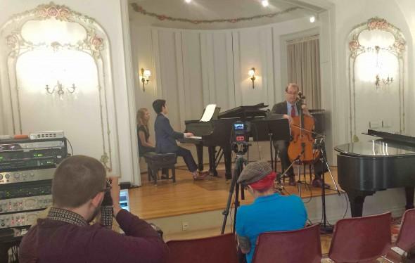 Aristo Sham, piano with Scott Tisdel, cello. Photo by Michael Barndt.