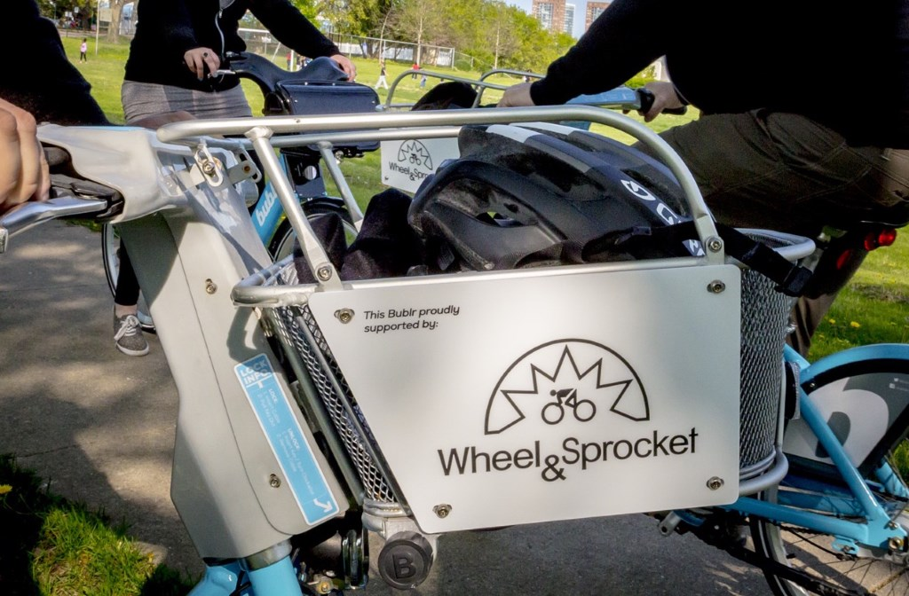 Wheel & Sprocket basket. Photo courtesy of Bublr Bikes.