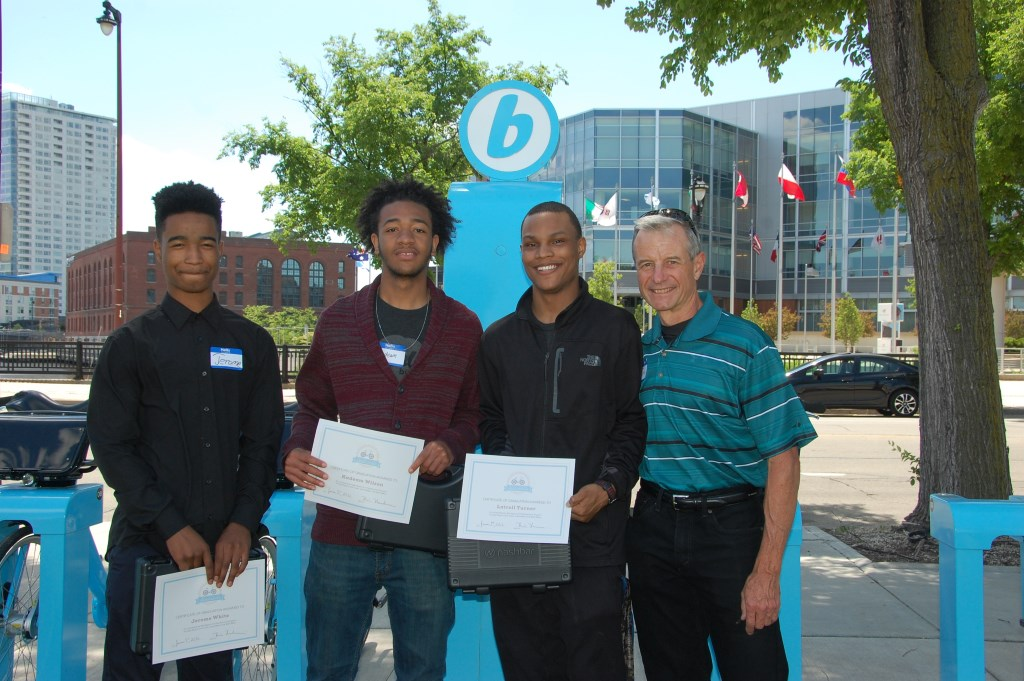 Jerome White, Kadeam Wilson and Latrell Turner receive certificates. Photo courtesy of Bublr Bikes.