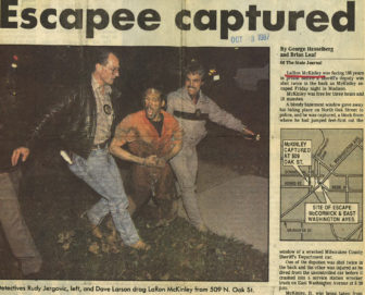 LaRon McKinley was placed in administrative confinement after this 1987 escape in Madison in which he shot a Milwaukee County Sheriff's deputy. Another deputy was injured while leaping from the squad car in which the three were riding. Photo courtesy of the Wisconsin State Journal.